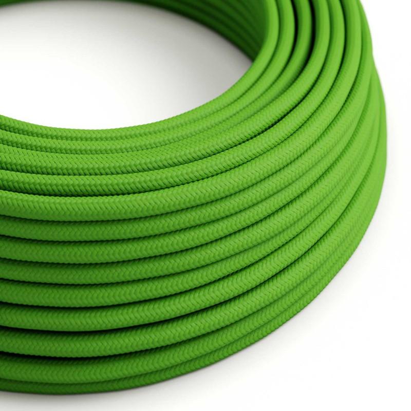Cabo elétrico redondo com seda artificial aplicada cor de tecido sólida RM18 Verde Lima
