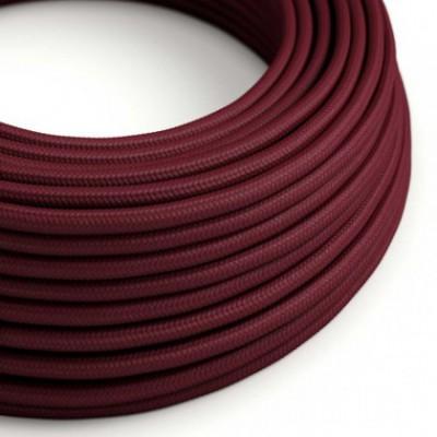 Cabo elétrico redondo com seda artificial aplicada cor de tecido sólida RM19 Bordeaux