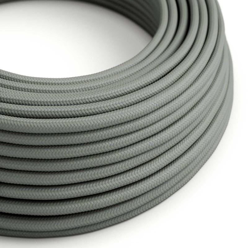 Cabo elétrico redondo com seda artificial aplicada cor de tecido sólida RM03 Cinzento
