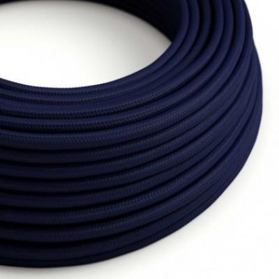 Cabo elétrico redondo com seda artificial aplicada cor de tecido sólida RM20 Azul Escuro