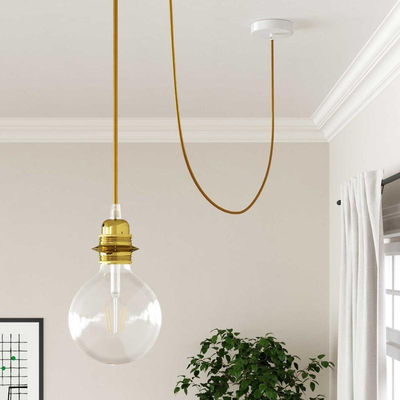 Cabo elétrico redondo com seda artificial aplicada cor de tecido sólida RM05 Dourado