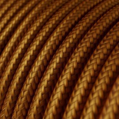Cabo elétrico redondo com seda artificial aplicada cor de tecido sólida RM22 Whiskey