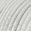 cabo elétrico redondo brilhante com seda artificial aplicada cor de tecido sólida RL01 Branco