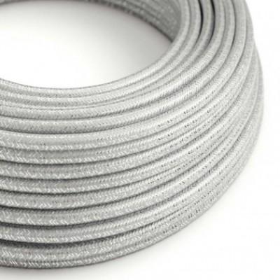 cabo elétrico redondo brilhante com seda artificial aplicada cor de tecido sólida RL02 Prateado