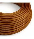 cabo elétrico redondo brilhante com seda artificial aplicada cor de tecido sólida RL22 cobre