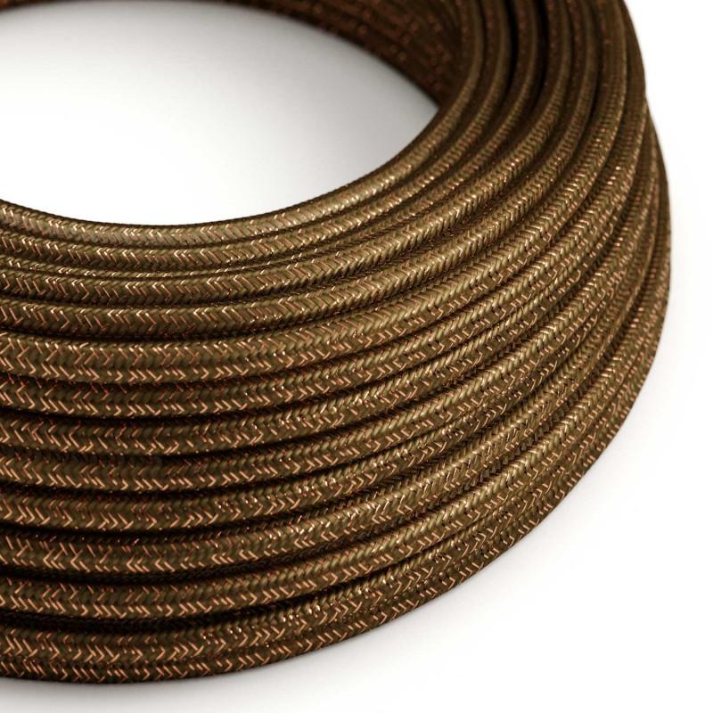 cabo elétrico redondo brilhante com seda artificial aplicada cor de tecido sólida RL13 Castanho