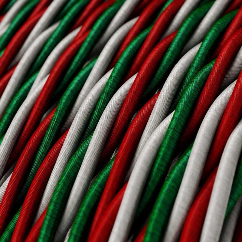 """Cabo elétrico torcido com tecido aplicado em seda artificial """"Itália"""""""
