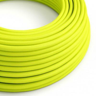 Cabo elétrico redondo com seda artificial aplicada cor de tecido sólida RF10 Amarelo fluorescente