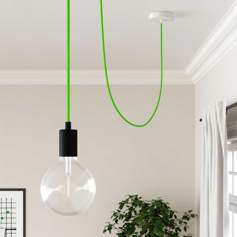 Cabo elétrico redondo com seda artificial aplicada cor de tecido sólida RF06 Verde fluorescente
