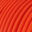 Cabo elétrico redondo com seda artificial aplicada cor de tecido sólida RF15 Laranja fluorescente