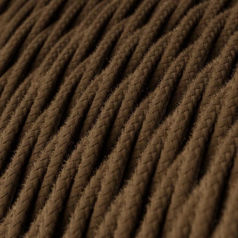 Cabo elétrico torcido revestido por cor de tecido sólida TC13 Castanho