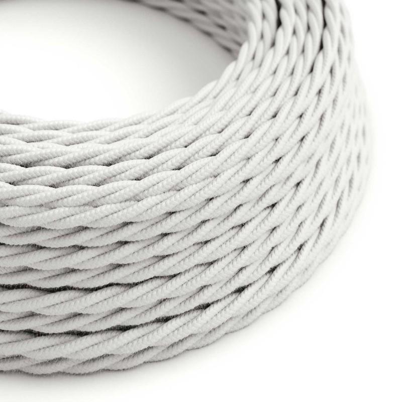 Cabo elétrico torcido revestido por tecido de Algodão de cor sólida TC01 Branco