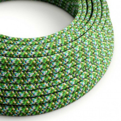 Cabo elétrico redondo revestido por tecido de seda artificial RX05 Pixel Verde