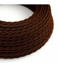 Cabo elétrico torcido com seda artificial aplicada tecido de cor sólida TZ22 Preto e Whiskey