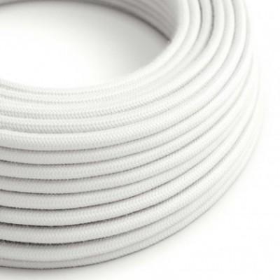 Cabo elétrico redondo revestido por tecido de algodão de cor sólida RC01 Branco