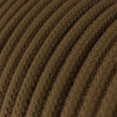 Cabo elétrico redondo revestido por tecido de algodão de cor sólida RC13 Castanho