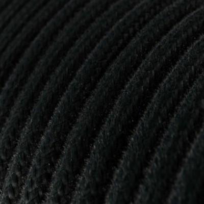 Cabo elétrico redondo revestido por tecido de algodão de cor sólida RC04 Preto