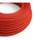 Cabo elétrico redondo brilhante em seda artificial cor sólida RL09 Vermelho