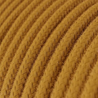 Cabo elétrico redondo em algodão cor sólida RC31 Mel Dourado