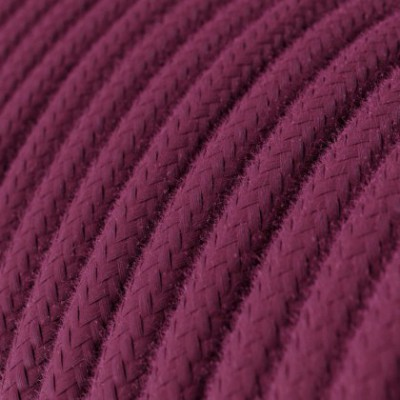Cabo elétrico redondo em algodão cor sólida RC32 Bordeaux
