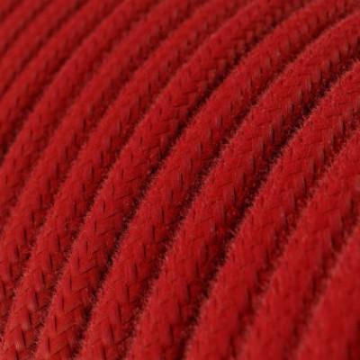 Cabo elétrico redondo em algodão cor sólida RC35 Vermelho Fogo
