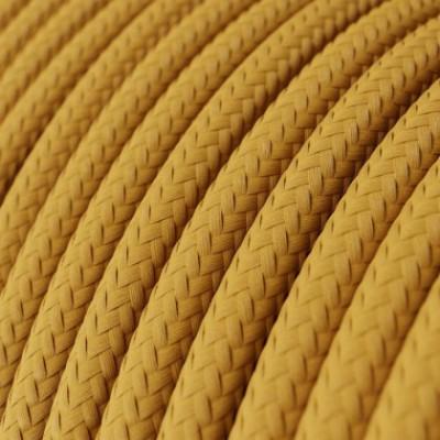 Cabo elétrico redondo em seda artificial cor sólida RM25 Mostarda