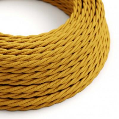 Cabo elétrico trançado em seda artificial cor sólida TM25 Mostarda