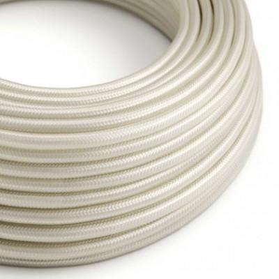 Cabo elétrico redondo com seda artificial aplicada cor de tecido sólida RM00 Marfim