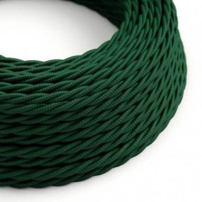 Cabo elétrico trançado coberto por tecido de cor sólida Seda Verde Escuro TM21