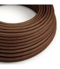 Cabo elétrico redondo coberto por tecido em seda artificial de cor sólida - RM36 Ferrugem