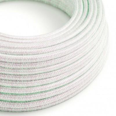 Cabo elétrico redondo coberto por tecido brilhante em seda artificial - RL00 Unicornio