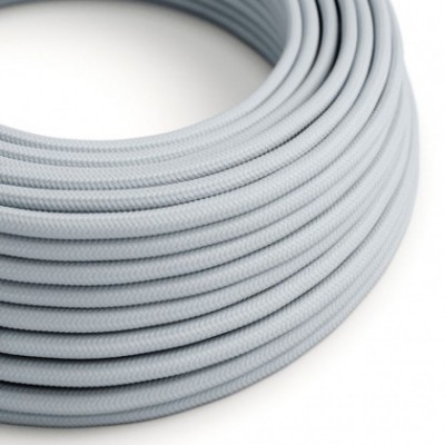 Cabo elétrico redondo revestido por tecido de Viscose RM30 azul cinza claro