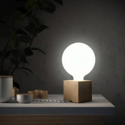 Posaluce Cupetto, o nosso candeeiro de mesa em madeira com lâmpada, cabo de tecido, interruptor e ficha bipolar