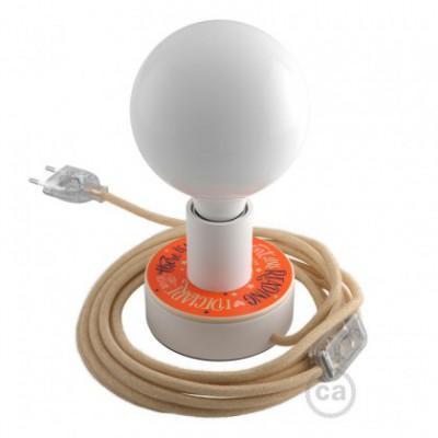 Posaluce MINI-UFO Pemberley Pond em madeira de dupla face, com lâmpada, cabo de tecido, interruptor e ficha bipolar