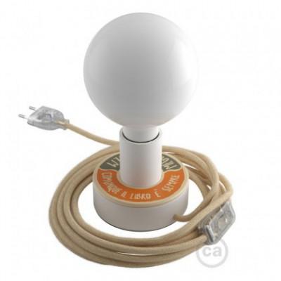 Posaluce MINI-UFO READING BALLSH * T em madeira de dupla face, com lâmpada, cabo de tecido, interruptor e ficha bipolar