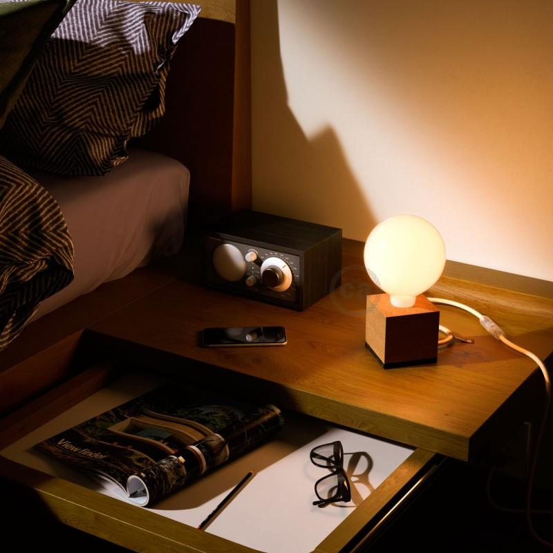 MoCo Posaluce Cupetto em cortiça natural, com lâmpada, cabo de tecido, interruptor e ficha bipolar
