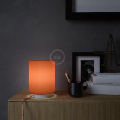 Posaluce em metal com abajur Cilindro Lagosta, com lâmpada, cabo de tecido, interruptor e ficha bipolar