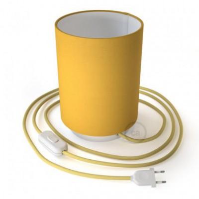 Posaluce em metal com abajur Cilindro Amarelo Brilhante, com lâmpada, cabo de tecido, interruptor e ficha bipolar