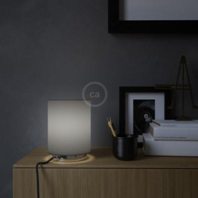 Posaluce em metal com abajur Penguin Electra Cilindro, completo com lâmpada, cabo de tecido, interruptor e ficha bipolar