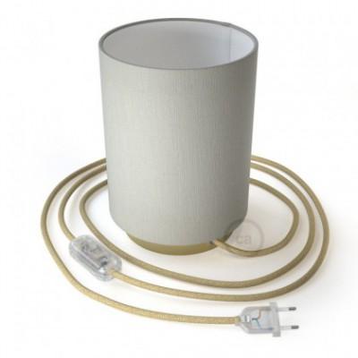 Posaluce em metal com abajur Cilindro Alfombra Branco, com lâmpada, cabo de tecido, interruptor e ficha bipolar