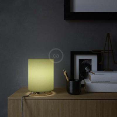 Posaluce em metal com Abajur Cilindro Canvas Verde-Azeitona, com lâmpada, cabo de tecido, interruptor e ficha bipolar