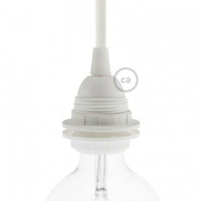 Kit casquilho termoplástico E27 duplo ilhó para abajur - Branco