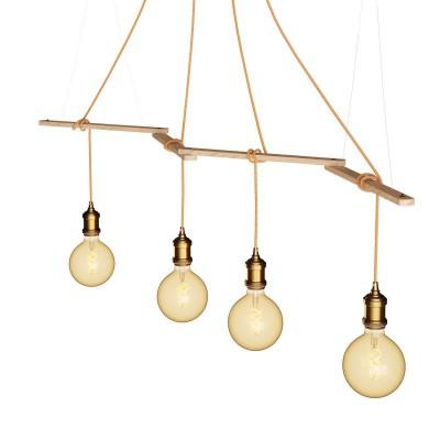 Zigh-Zagh, suporte ajustável para teto em madeira para candeeiros suspensos
