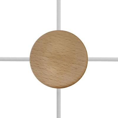 Kit com mini-rosácea de teto cilíndrica de 4 furos laterais em madeira (caixa de derivação)