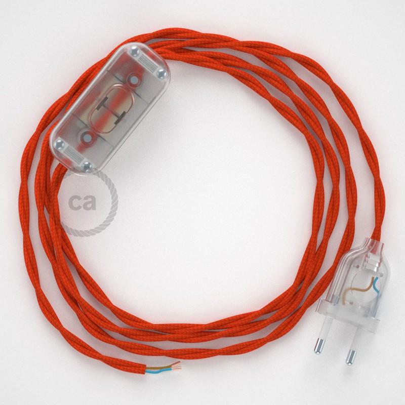 Cabo para candeeiro de mesa, TM15 Laranja Seda Artificial 1,80 m. Escolha a cor da ficha e do interruptor.