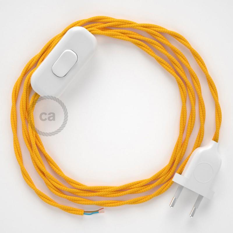 Cabo para candeeiro de mesa, TM10 Amarelo Seda Artificial 1,80 m. Escolha a cor da ficha e do interruptor.