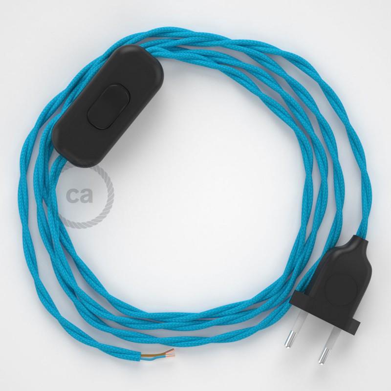 Cabo para candeeiro de mesa, TM11 Turquesa Seda Artificial 1,80 m. Escolha a cor da ficha e do interruptor.