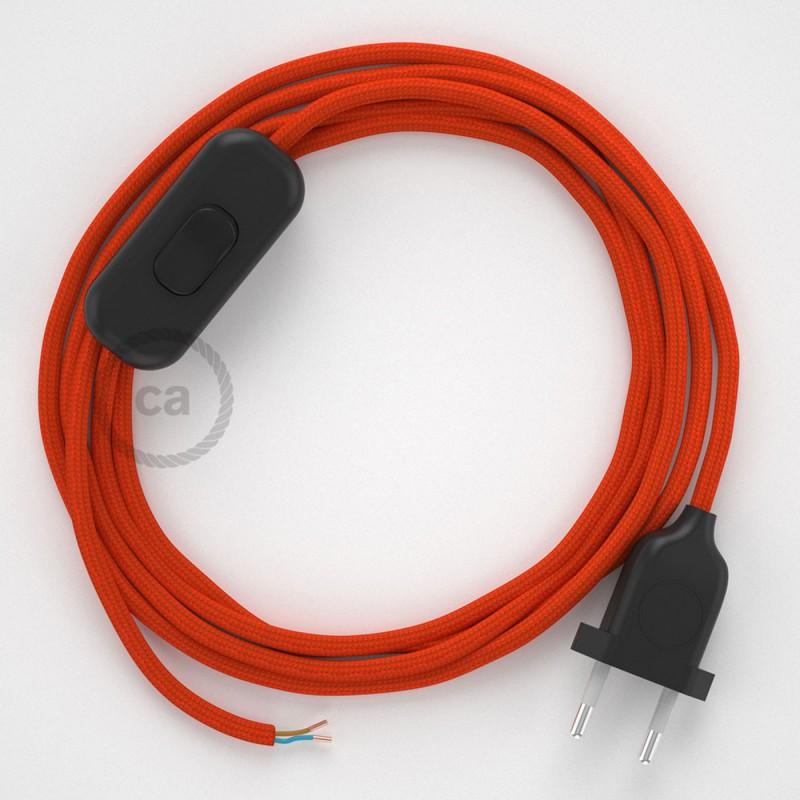 Cabo para candeeiro de mesa, RM15 Laranja Seda Artificial 1,80 m. Escolha a cor da ficha e do interruptor.