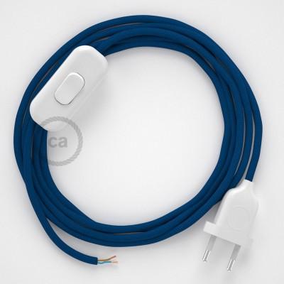 Cabo para candeeiro de mesa, RM12 Azul Seda Artificial 1,80 m. Escolha a cor da ficha e do interruptor.