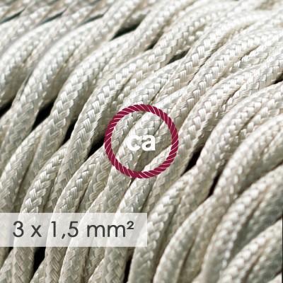 Cabo elétrico de seção grande 3x1,50 trançado - Seda artificial Marfim TM00